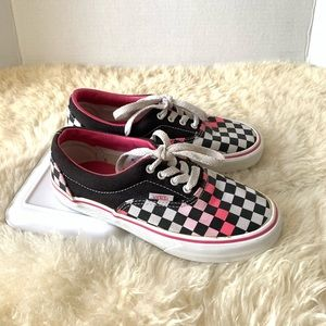 Vans Youth Checkerboard Shoes Pink Size 1.5